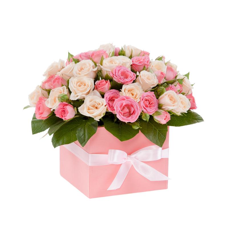 Композиции из цветов в коробках фото